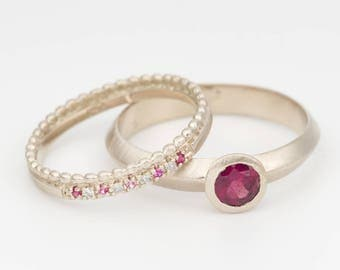 unique wedding rings bridal ring set stack wedding rings wedding ring set ruby ring ruby diamond ring ruby solitaire ring 18 gold