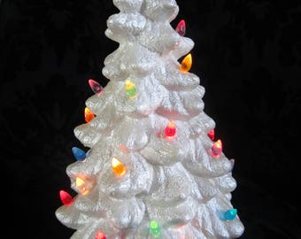 Vintage ceramic 11 & 3/4 inch Christmas Trees with electrical/lights