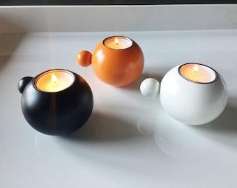 Scandinavian Modern Wood Candle Holder Black Made in Sweden
