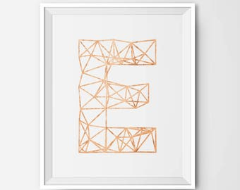 "Copper Geometric Faux Foil Letter Initial Monogram Typography Art Print - Nursery or  Wall Art Decor -  8"" by 10"" Printable Instant Download"