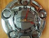 Ford Hubcap Center Wall Clock - Repurposed - Handmade - Chrome