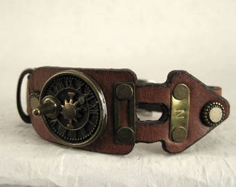 466 Steampunk Sundial Burning Man Boho Industrial Bracelet