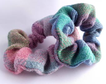 Harris tweed scrunchie, Hair tie, Bun tie, Tartan, Hair accessories