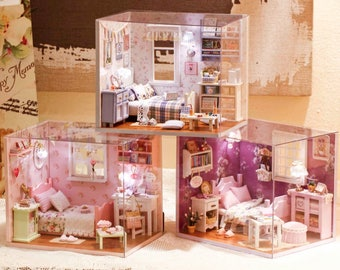 My angels bedroom Trilogy * DIY Handcraft Miniature doll house Project * Dollhouse Kit & tools adhesive