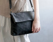 Fold Over Leather Purse, Women Cross Body Bag, Fold Over Leather Handbag, Leather Cross body Purse