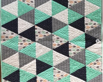 Hand-quilted Triangle Baby Quilt