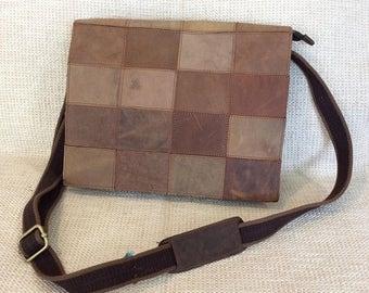 20% SUMMER SALE Vintage patchwork multi color leather messenger bag crossbody