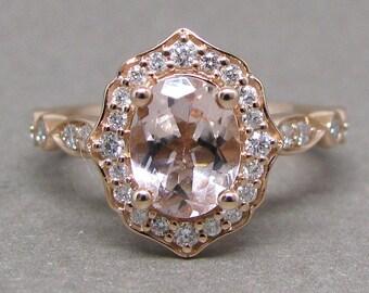 Oval 8x6mm Morganite Scallped Diamond Engagement Ring 14k Rose Gold Wedding Bridal Ring Round Diamonds