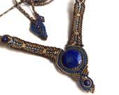 "Macrame necklace, Lapis Lazuli, gemstone, native pattern, tribal jewelry, blue, bronze, ""The Dragonfly"", The Native Series"