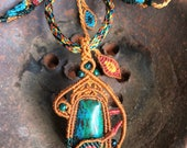 Macrame necklace, Chrysocolla, jewelry, leaves, turquoise, green, beige, natural, two sided, macrame tree, nature inspired