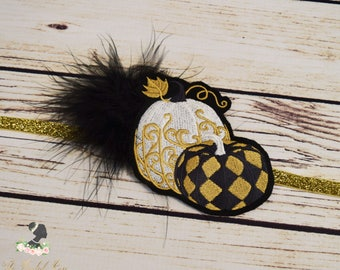 Handcrafted Harlequin 1920s Inspired Gold Black and White Pumpkin Headband - Fall Headband - Thanksgiving Adult Headpiece - Great Gatsby Bow