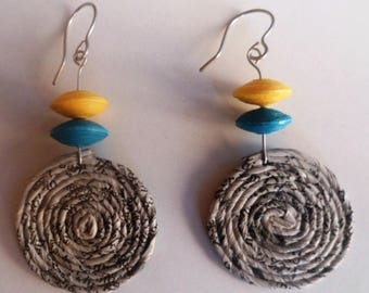 """Hopi""-wire and paper filigree earrings"