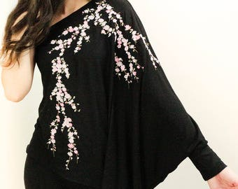 Boho top, asymmetrical top, jersey top, party top in black jersey with Asian embroidery