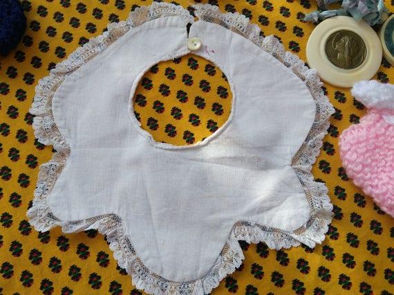 Antique White Cotton Baby Bib Lace Trim Original Shape Collectible Doll Clothing #sophieladydeparis