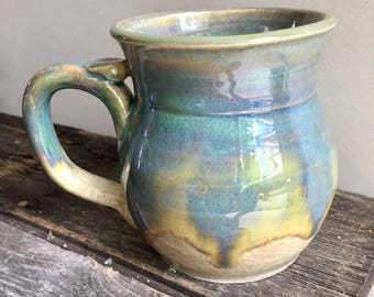 Large Mug Ceramic Handmade wheel thrown pottery holds 20oz