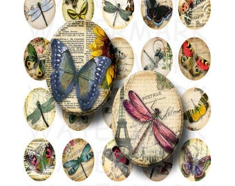 SALE- Butterflies and Dragonflies - Digital Collage Sheet   - 30x40mm Ovals - INSTANT DOWNLOAD