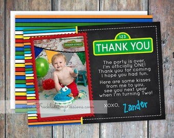 Sesame Street inspired Birthday Thank You Card