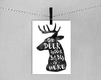 New Baby Card  // Gender Neutral New Baby Card //  Oh Deer Baby Card // Printable Card // Instant Download Card / Baby Arrival Card