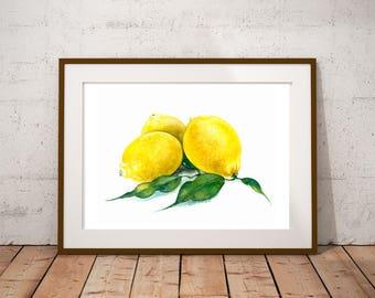 Lemons Botanical illustration Watercolor painting Food art print Citrus fruits Yellow home decor Farmhouse decor Kitchen wall art
