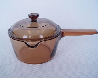 Amber Vision Ware Saucepan With Lid, Pour Spout,  1 Liter, Made in USA, Vintage Cookware, Visions, Corning