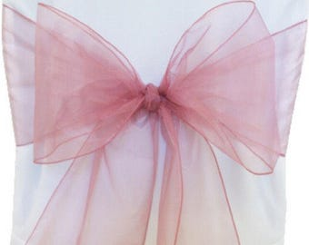 50x Dusty Pink Organza Chair Sashes Wedding Banquet Ceremony Feast Decorations Sheer Chair Sash Bow