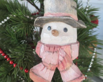 Hand Carved Christmas Ornament Snowman One of a Kind