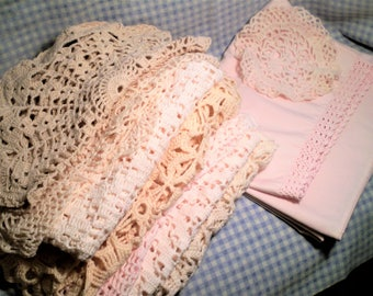Vintage PINK LACE CROCHET Doily Lot Laundry Boo-Boo (Red Item Snuck Into Washer) Doilies Runners Pillowcase Shabby Cottage Hand-Crochet