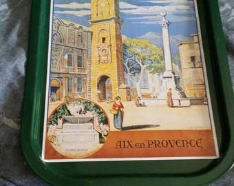 On Sale Aix en Provence City Scene Green Metal Tray Snack Serving Dish or Decorative Home