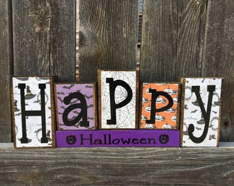 SALE--Happy Halloween wood blocks, Halloween decor