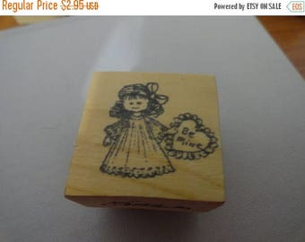50% OFF Be Mine stamp 1 by 1 inch Vintage Wooden rubber stamp