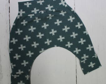 Cross on Pine Harem Pants, Baby and Kids Harem Pant Leggings, Gender Neutral Geometric Print, Unn Cross Pine, Teal Green