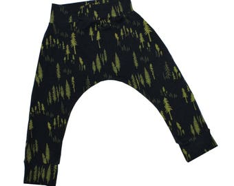Pine Forest Harem Pants, Baby and Kids Harem Pant Leggings, Pine Trees, Woodland, Forest Trees