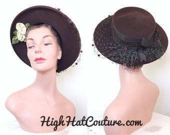 1940s Vintage Hat / Wide brim hat / Roses / Cocoa Brown felt
