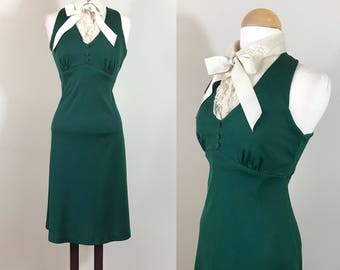 Vintage 1970s Dress / Dark Green Dress / Lace collar / Halter dress