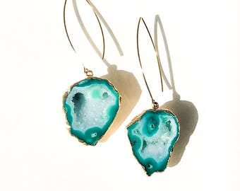 Green Geode Earrings