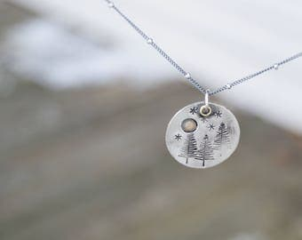 In The Forest Sterling Silver Necklace .  Moon . Stars . Sterling Necklace.Rustic. Necklace. Mixed Metals