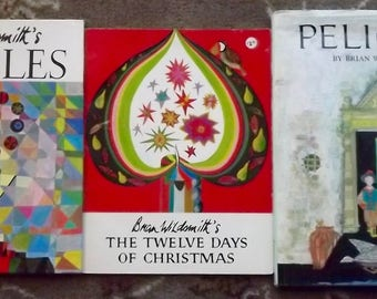 3 books Brian Wildsmith's The Twelve Days of Christmas, Puzzles, and Pelican