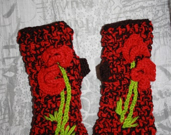 black and Red mittens crochet embroidery red flowers 3