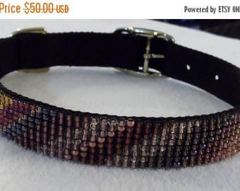 CLEARANCE Copper and Hematite Twist Beaded Dog Collar, 18-22-inches/46-56 cm