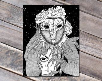 Physical Print of Hand Drawn Original Surreal Art Space Owl - Owl Drawing - Symbolic Art - 11x14 inches - Already Printed