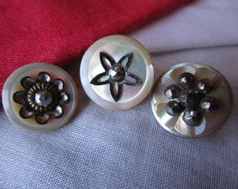 0328 - Three Small Gently Iridescent Pearl-Shell Antique Buttons Embellished with Cut Steels