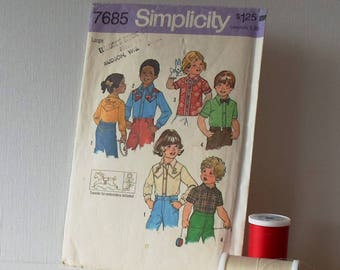 Vintage Simplicity Pattern 7685 Size Large Toddler and Childs Shirts 1976