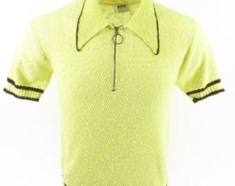 Vintage 70s Montgomery Ward Shirt Mens M Yellow 50/50 Knit [H73I_0-9]