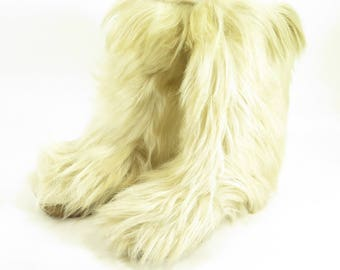Vintage 70s Apollo Saba Ivory Goat Fur Boots EU 38 US 7.5 Italian Fleece Lined [H90N_3-3_Leather]