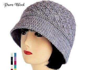 Women's Bucket Hat, Grey Cloche Hat, Grey Knitted Hat, Pure Wool Hat, Women's Winter Hat, Winter Hat with Brim, Winter Accessories, Sue Maun