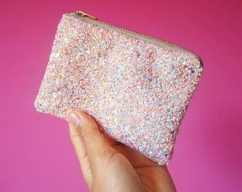 Pink Iridescent Glitter Coin Purse, Sparkly Light Pink Glitter Purse, Pink Zipped Purse, Mini Pink Glitter Coin Pouch, Iridescent Glitter,