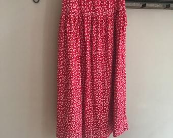 Vintage Floral Skirt.L.Women Skirt.Made in-Spain.