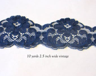 Navy blue lace trim, scalloped lace trimming, dark blue laces wedding decor 10 yards