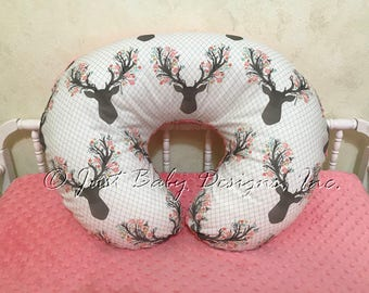 Boppy Cover-  Nursing Pillow Cover, Floral Deer Head and Coral Minky Dot