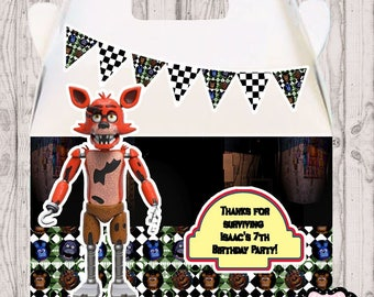 Five Nights at Freddy's party boxes,  FNAF gable box, 10 FNAF party favor gable box, FNAF box